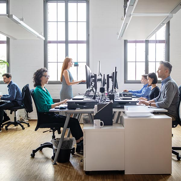 A group of office workers sit at computers in a modern open plan office.